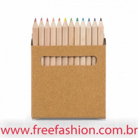 91747 Caixa de cartão com 12 mini lápis de cor