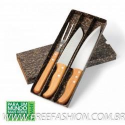KF 00843 Conj. De Facas Em Bambu Special Line - 3 Pçs