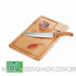 MB 04083 Conj. Faca E Prancha Em Bambu/Inox Texas - 2 Pçs