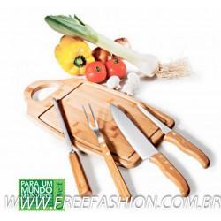 MB 08183 Conj. Para Churrasco Em Bambu/Inox Ottawa - 5 Pçs