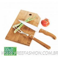 MB 20063 Conj. Para Cozinha Em Bambu/Inox Oregon - 3 Pçs