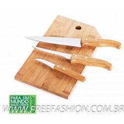 MB 20523 Conj. Para Cozinha Em Bambu/Inox Oregon - 4 Pçs