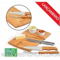 MB 21013 Conj. Para Churrasco/Petisco Em Bambu/Inox - 2 Em 1