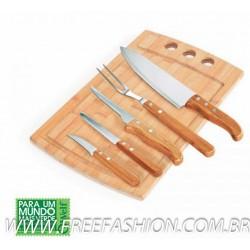 MB 21533 Conj. Para Churrasco/Cozinha Em Bambu/Inox California - 6 Pçs
