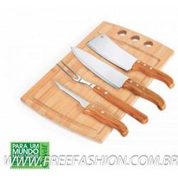 MB 21543 Conj. Para Churrasco/Cozinha Em Bambu/Inox California - 5 Pçs