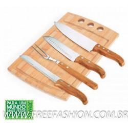 MB 21663 Conj. Para Churrasco/Cozinha Em Bambu/Inox Califórnia - 5 Pçs