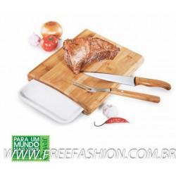 MB 23063 Conj. P/Cozinha Em Bambu/Inox/Melamina Arizona - 4 Pçs