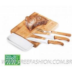 MB 23633 Conj. P/Cozinha Em Bambu/Inox/Melamina Arizona - 5 Pçs