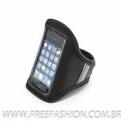97205 Braçadeira para celular Soft shell Com banda refletiva e fecho ajustável