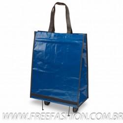 92846 Sacola dobrável com carrinho. PP-woven: 150 g/m². Rodas dobráveis, fundo semi-rígido e bolso interior.