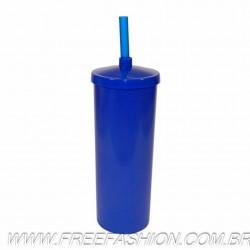 0330 COPO LONG DRINK 330 ML COM TAMPA E CANUDO AZUL F CHAPADO