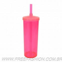 0330 COPO LONG DRINK 330 ML COM TAMPA E CANUDO ROSA NEON