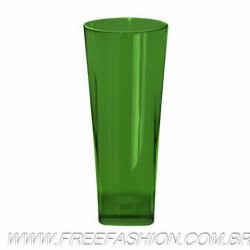 0350 COPO LONG DRINK BASE QUADRADA 350 ML VERDE BANDEIRA