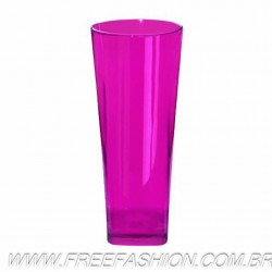 0350 COPO LONG DRINK BASE QUADRADA 350 ML ROSA NEON