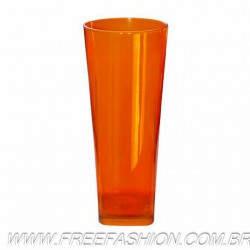 0350 COPO LONG DRINK BASE QUADRADA 350 ML LARANJA NEON