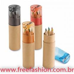 91751 Caixa de cartão com 6 mini lápis de cor