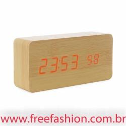 18563 Relógio de Madeira com Display LED