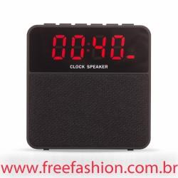 02071 Caixa de Som Bluetooth com Relógio Digital