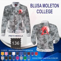 0136 JAQUETA COLLEGE MOLETON FLANELADO PRETO MESCLA