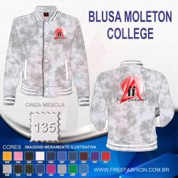 0135 JAQUETA COLLEGE MOLETON FLANELADO CINZA MESCLA