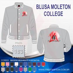 0183 JAQUETA COLLEGE MOLETON FLANELADO PRATA