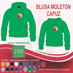 0239C BLUSA DE MOLETON FLANELADO COM CAPUZ VERDE MARANDUBA