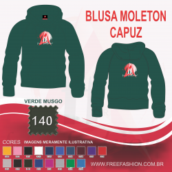 0140C BLUSA MOLETON FLANELADO COM CAPUZ VERDE MUSGO