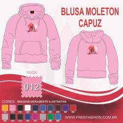 0012C BLUSA MOLETON FLANELADO COM CAPUZ ROSA