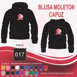 0017C BLUSA MOLETON FLANELADO COM CAPUZ PRETO