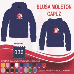 0030C BLUSA MOLETON FLANELADO COM CAPUZ AZUL MARINHO