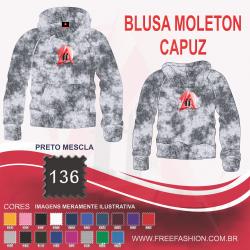 0136C BLUSA MOLETON FLANELADO COM CAPUZ MESCLA PRETO