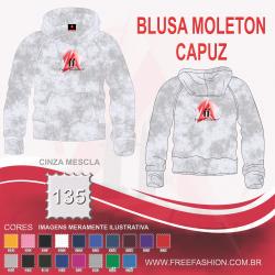 0135C BLUSA MOLETON FLANELADO COM CAPUZ CINZA MESCLA