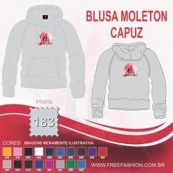 0183C BLUSA MOLETON FLANELADO COM CAPUZ PRATA