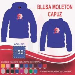 0150C BLUSA DE MOLETON FLANELADO COM CAPUZ AZUL BIC