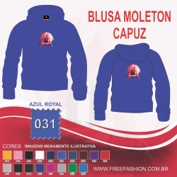 0031C BLUSA MOLETON FLANELADO COM CAPUZ AZUL ROYAL