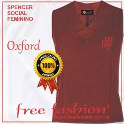 0005-O SPENCER/COLETE FEMININO OXFORD GOLA V SEM MANGA
