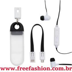 14588 Fone de Ouvido Bluetooth com Estojo e Cabo