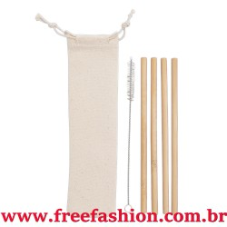 14597 Kit Canudos de Bambu com Escova de Limpeza