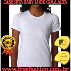 0007 CAMISETA BABY LOOK GOLA ALTA ANTI PILLING COM PROTEÇÃO SOLAR