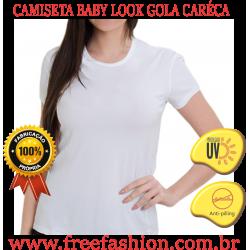 0008 CAMISETA BABY LOOK GOLA CARÉCA ANTI PILLING COM PROTEÇÃO SOLAR