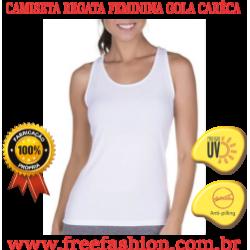 0008 CAMISETA REGATA FEMININA GOLA ALTA ANTI PILLING COM PROTEÇÃO SOLAR
