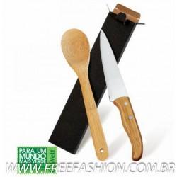 """KF 90403 Conj. De Faca 7"""" E Colher Em Bambu Special Line - 2 Pçs"""