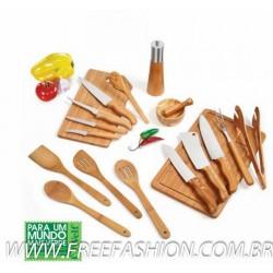 KT A0203 Kit Gourmet Em Bambu/Inox - 18 Peças
