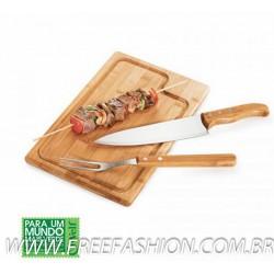 MB 04093 Conj. Para Churrasco Em Bambu/Inox Texas - 3 Pçs