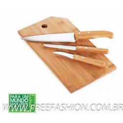 MB 20223 Conj. Para Cozinha Em Bambu/Inox Oregon - 4 Pçs