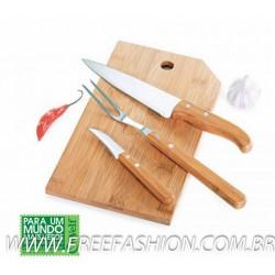 MB 20343 Conj. Para Cozinha Em Bambu/Inox Oregon - 4 Pçs