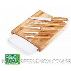 MB 23153 Conj. P/Cozinha Em Bambu/Inox/Melamina Arizona - 7 Pçs