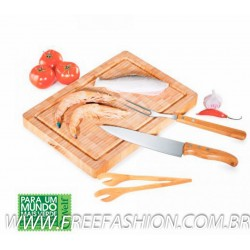 MB 24583 Conj. Para Churrasco Em Bambu/Inox Paris - 4 Pçs