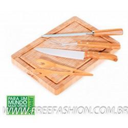 MB 24593 Conj. Para Churrasco Em Bambu/Inox Paris - 5 Pçs