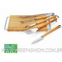 MB 275A3 Conj. Prancha E Kit Barbecue Em Bambu/Inox
